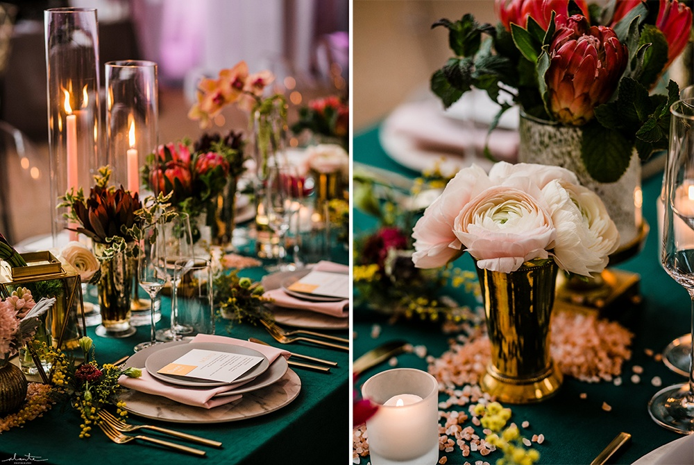 Bright and Bold Evergreen Tablescape