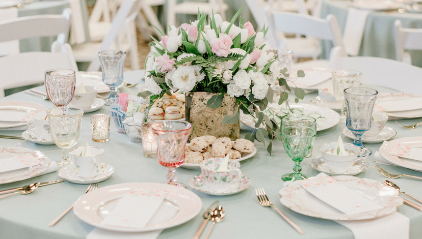 Hemlock Green Tea Party Table Decor