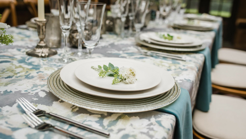 Natural Hemlock Green Floral Table