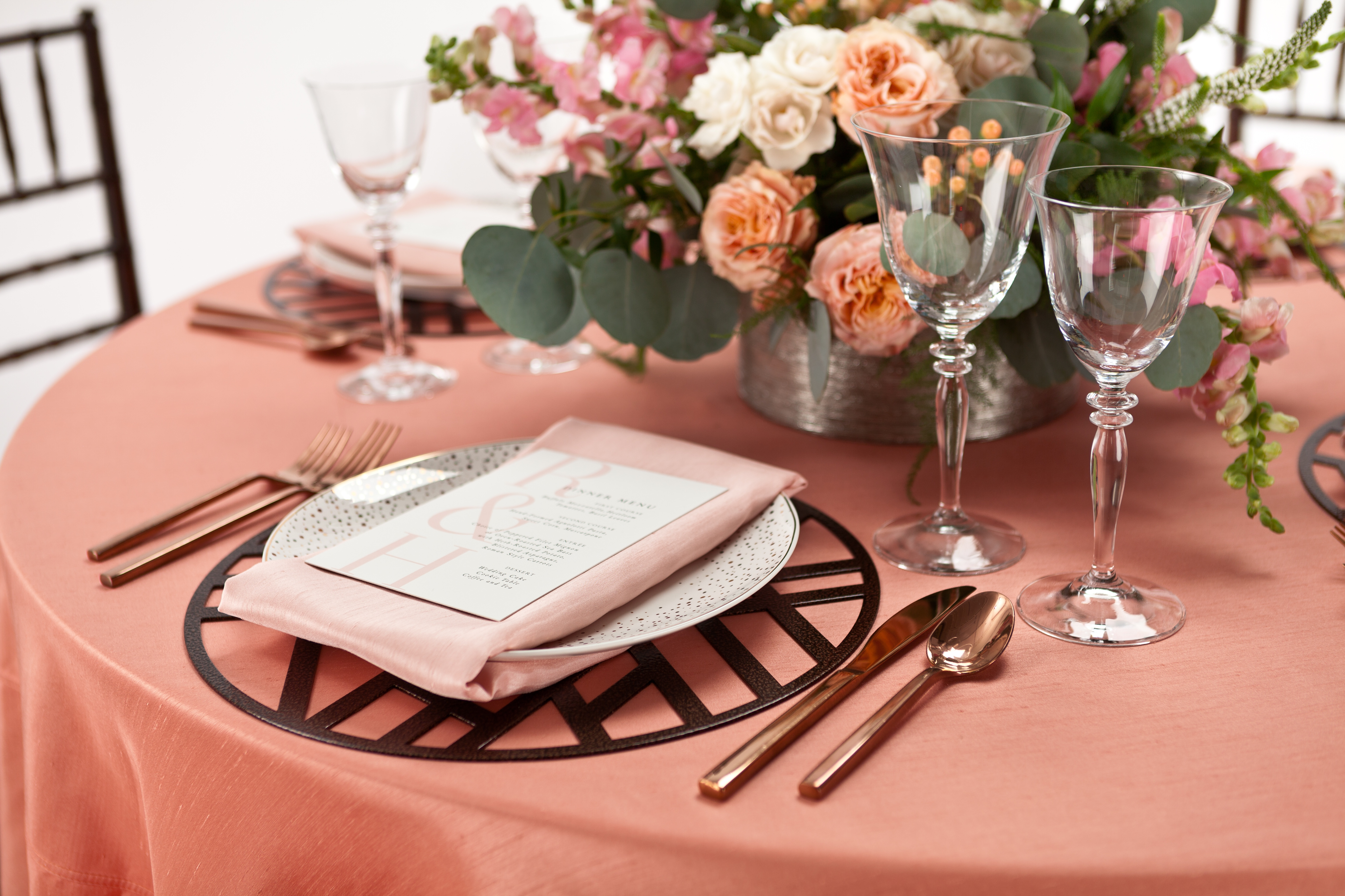 Peach Wedding Color Palette with Metal Placemat