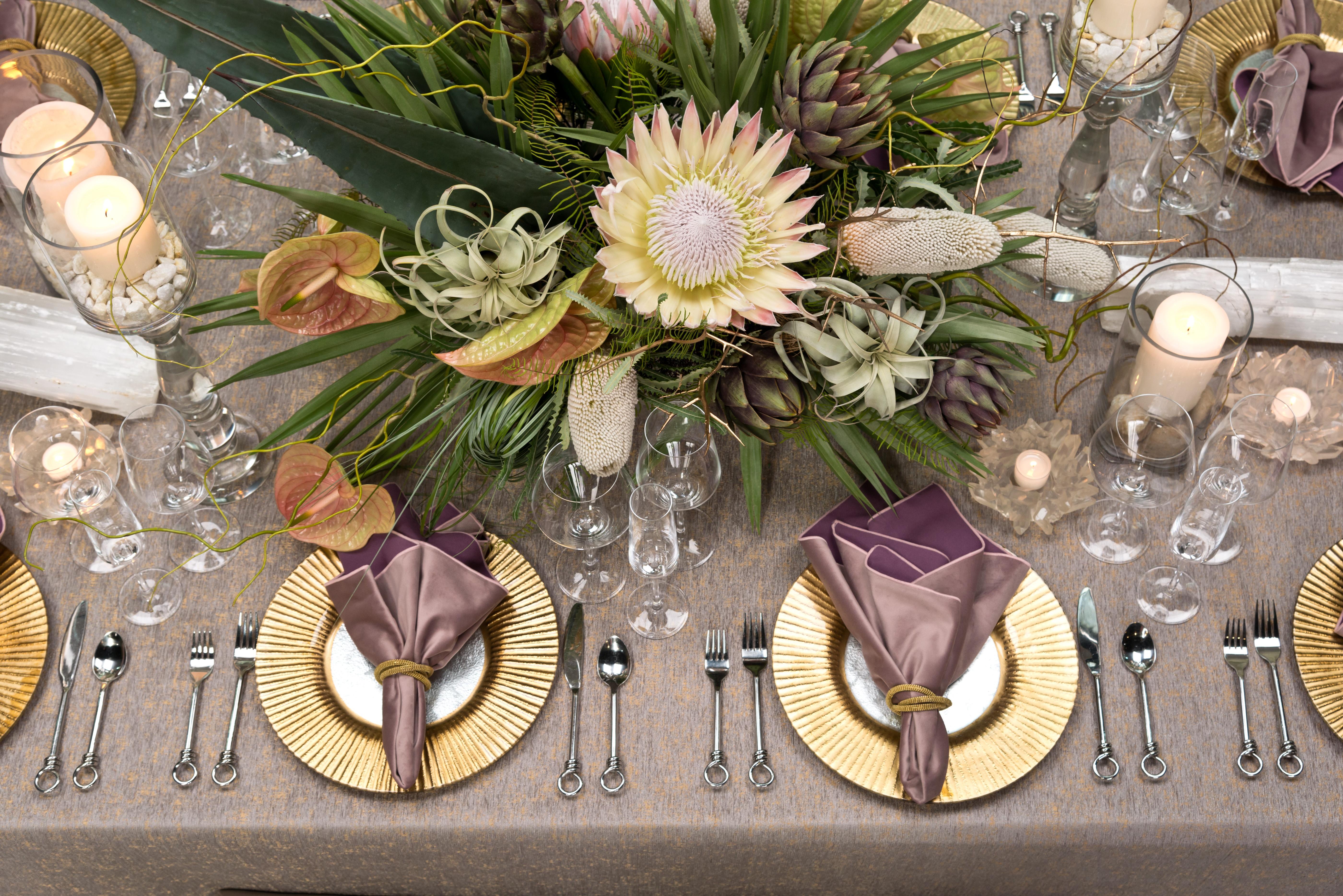 Golden Undertones Tablescape Design