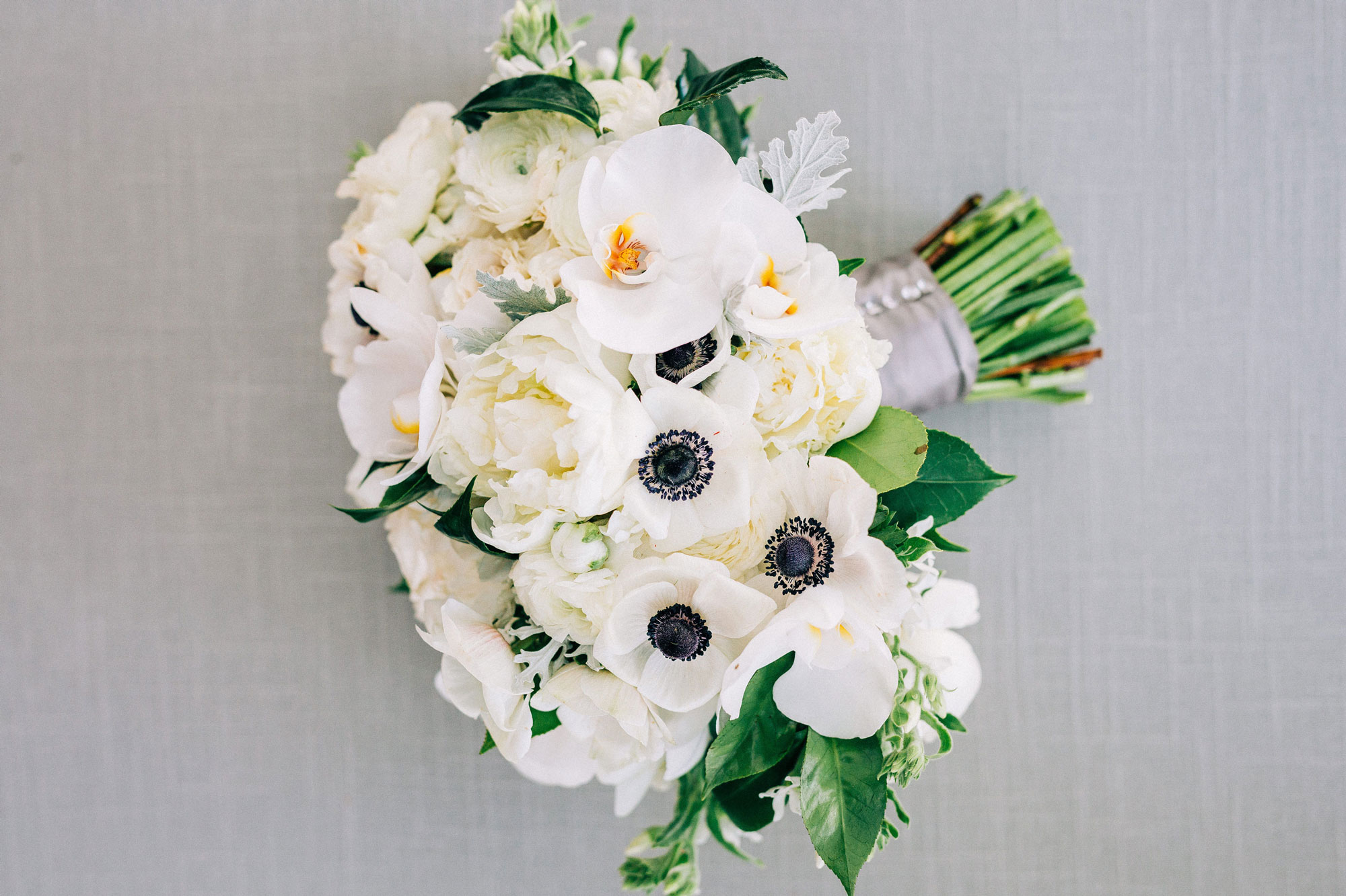 Modern All White Wedding Flowers