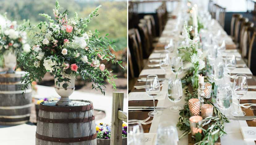 rustic-wedding-flower-tables