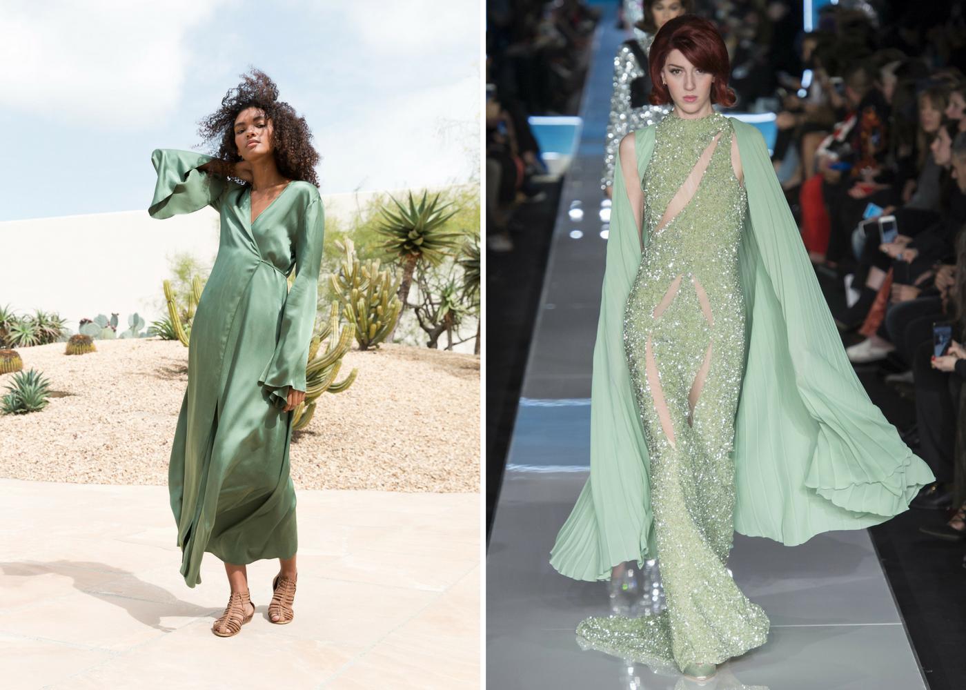 Hemlock Green Fashion Runway Dresses Moschino and Awaveawake