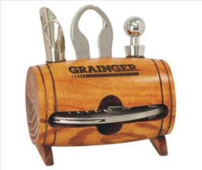 Wooden Barrel Wine Tool Set