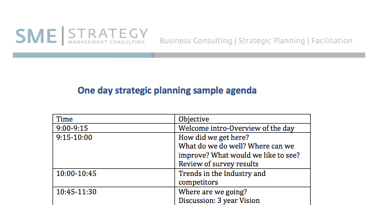 One Day Strategic Planning Meeting Sample Agenda – Sample Agenda Planner