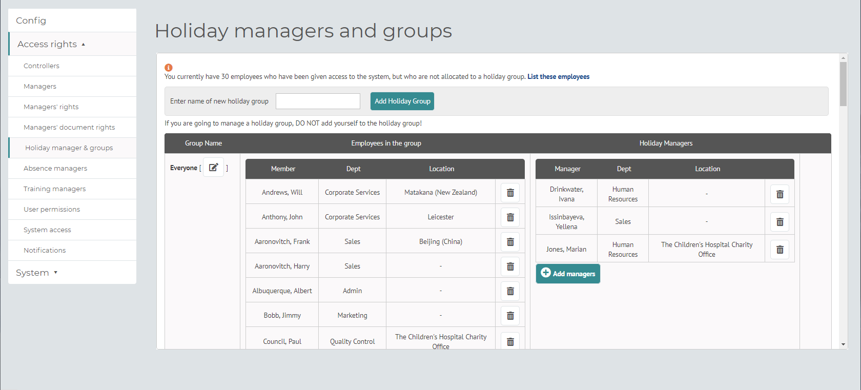myhrtoolkit config holiday managers and groups