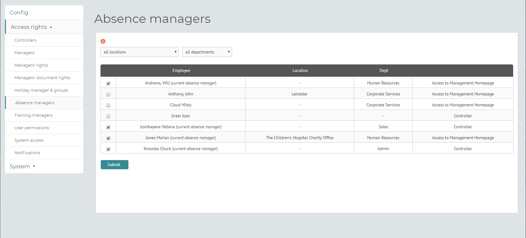 myhrtoolkit config absence managers