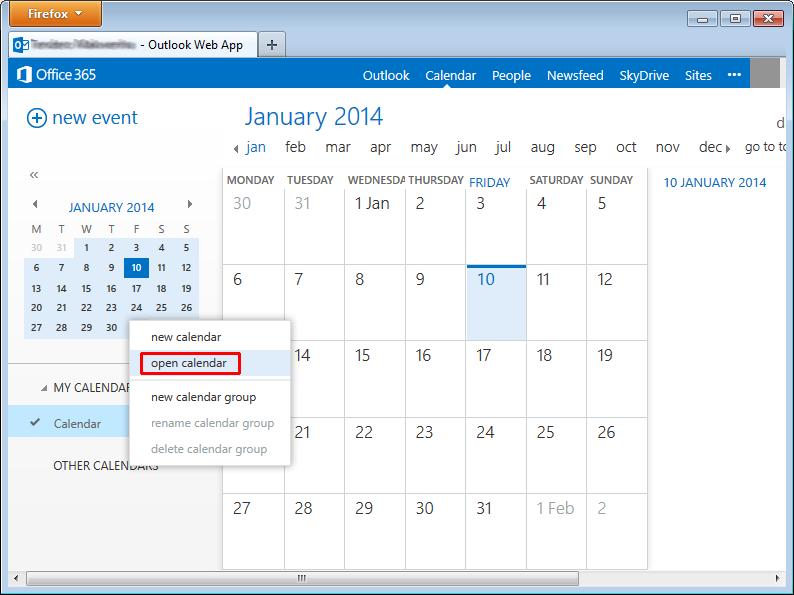 Outlook Web App ICS calendar