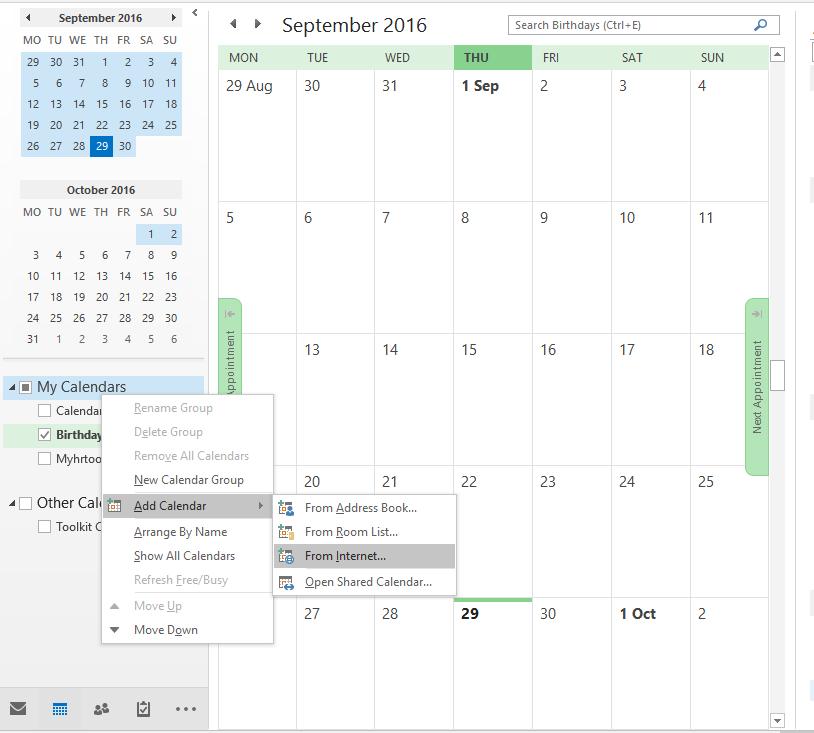 Outlook 2013 Calendar integration