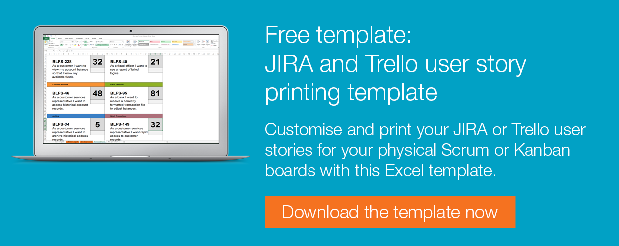 Agile Excel story templates for backlogs and release planning – User Story Template