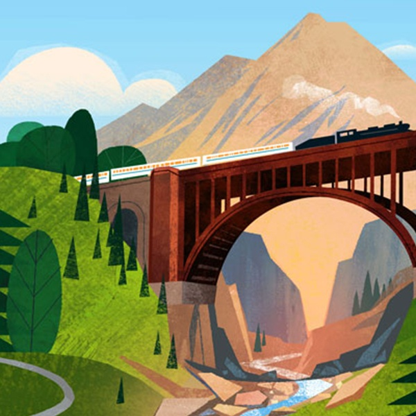National Trust for Historic Preservation illustration of a bridge and train