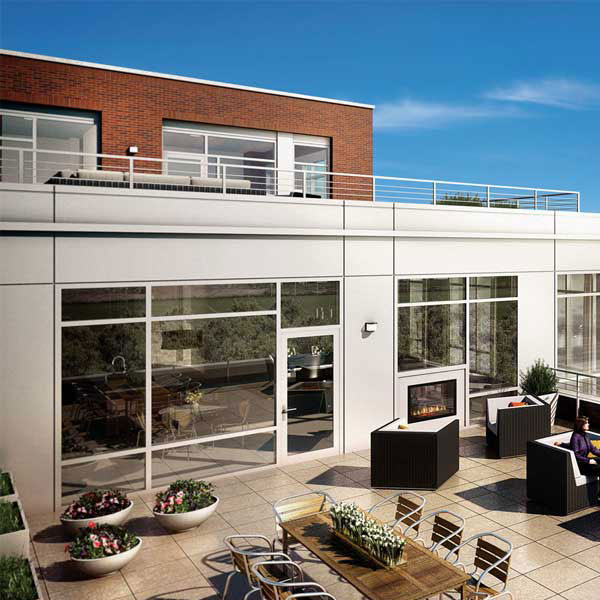 Rendering of the outside patios at EYA's The Oronoco waterfront residencies