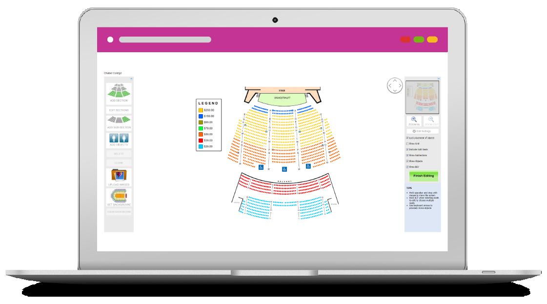 graphically seating map purplepass