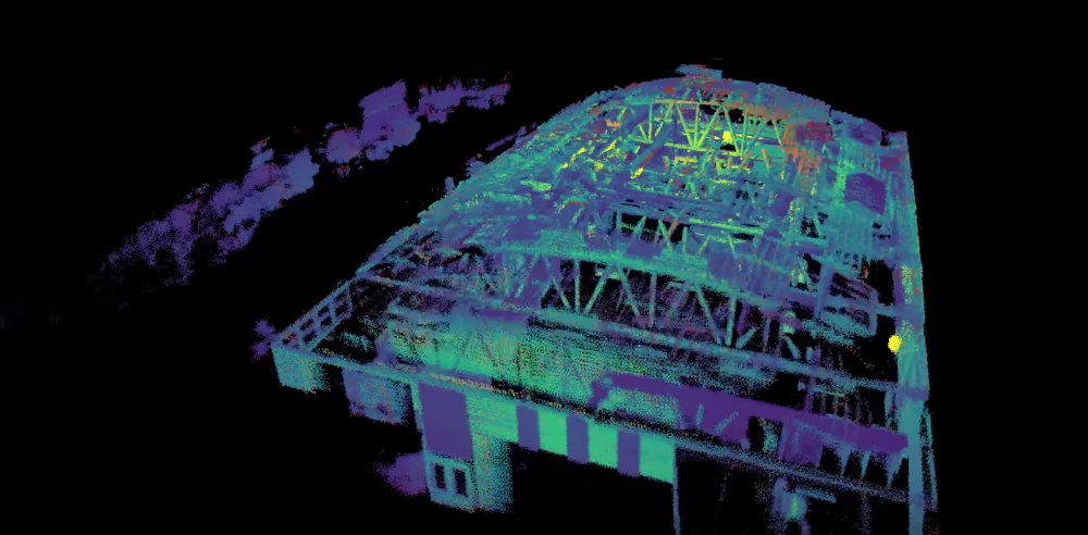 An indoor 3D scan taken with a sensor on a DJI commercial drone.