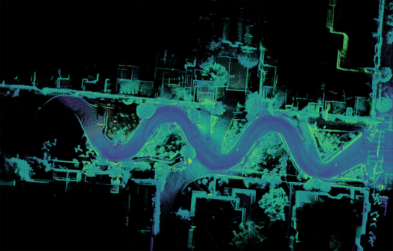 San Francisco's Lombard Street captured with 3 OS1 lidar sensors