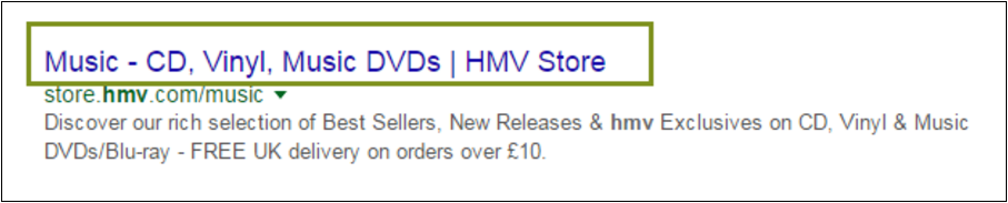 Example of a title tag - HMV Music Store