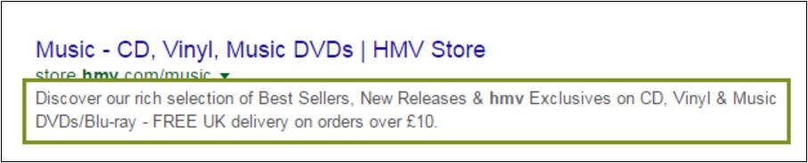 Example of a meta description - HMV Music Store