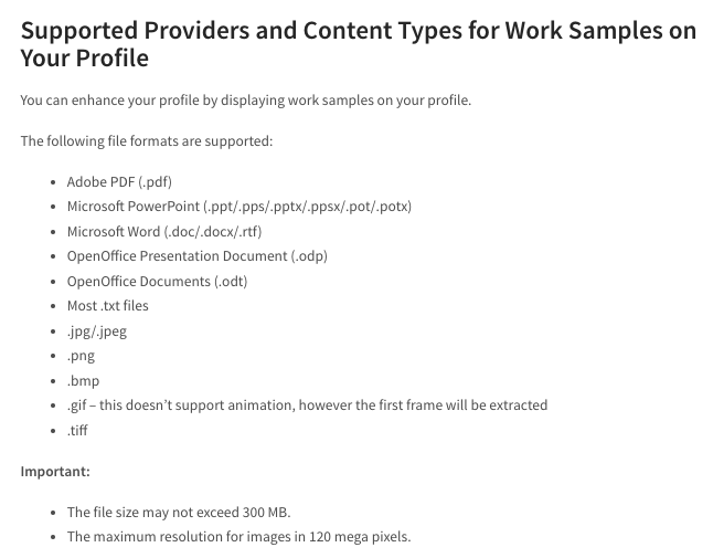 linkedin work samples supported media formats