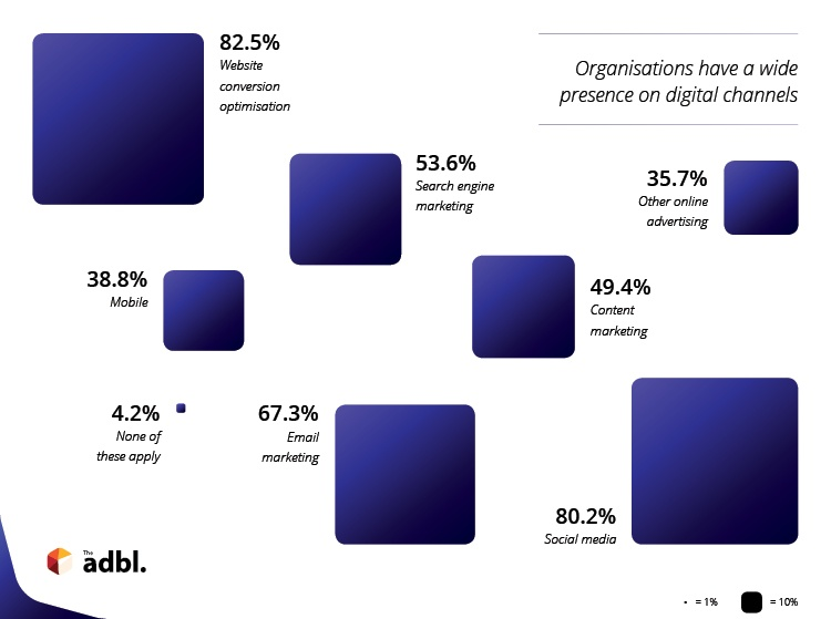Organisations have a wide presence on digital marketing channels, according to the ADBL Digiskills Report