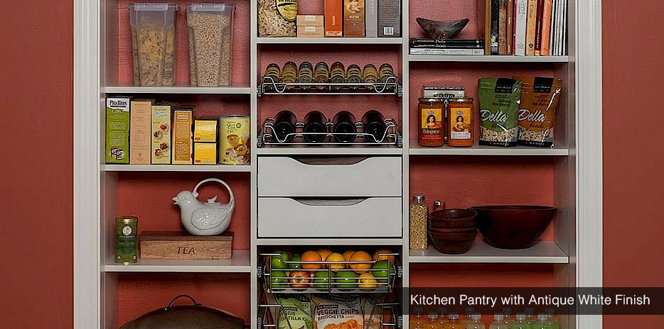 Kitchen Pantry With Antique White Finish Seattle