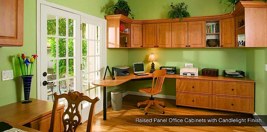 Raised Panel Office Cabinets With Candlelight Finish   Seattle ...