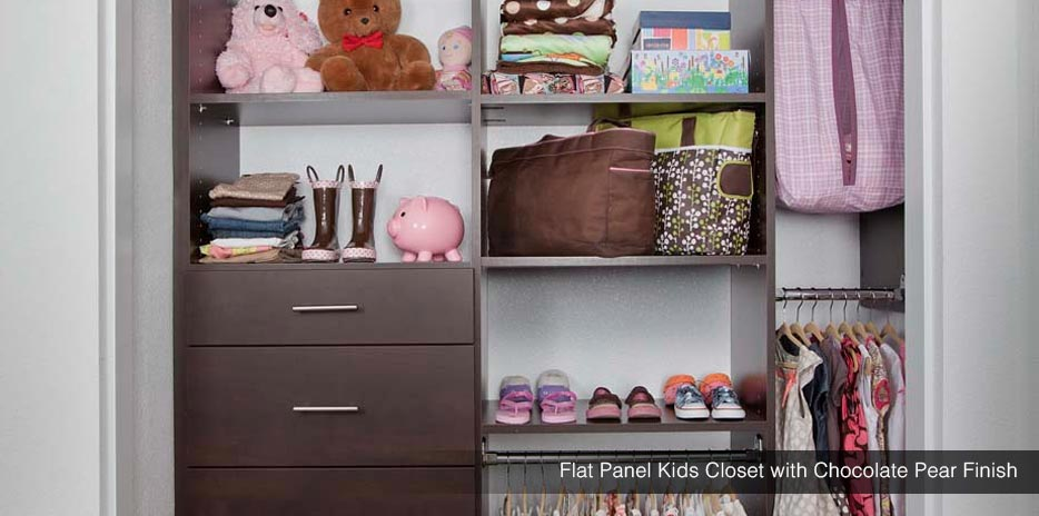 kids\u0027 closets adjustable, kid friendly closet systems seattleflat panel kid\u0027s closet with chocolate pear finish seattle, kent, redmond
