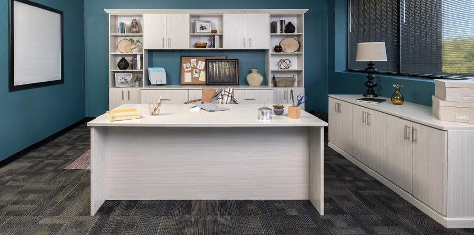 home office cabinetry. Concrete Finish Custom Home Office Cabinets Home Office Cabinetry