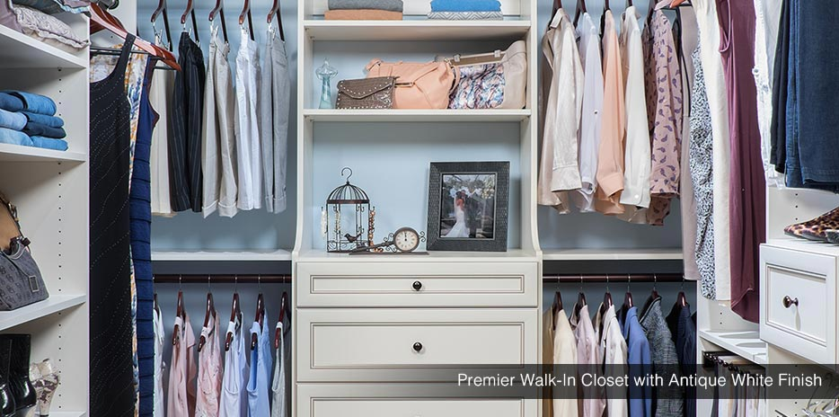 Premier Walk In Closet With Antique White Finish