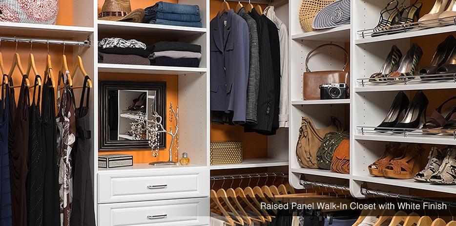 custom walk in closet with white finish in seattle - Custom Closet Organizers