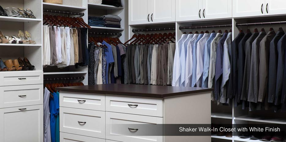 Shaker Walk In Closet System With White Finish   Kent .