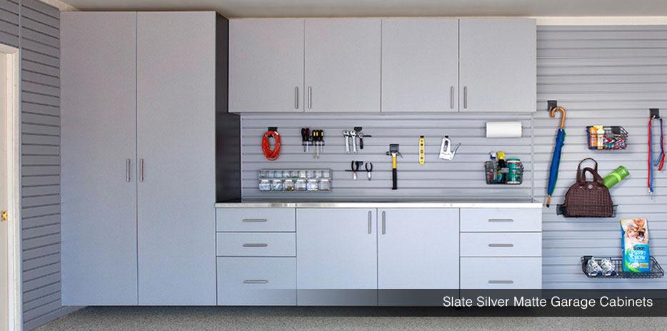 Matte Garage Cabinets Silver White