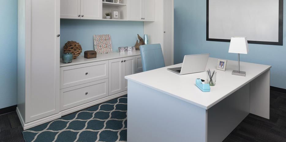 ... White Finish Custom Home Office Cabinets ...