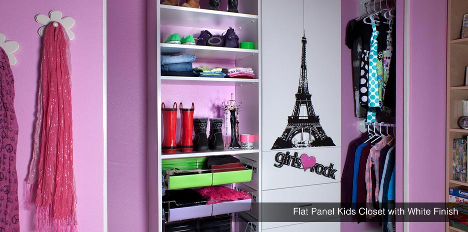 ... Flat Panel Kids Closet With White Finish   Fully Adjustable