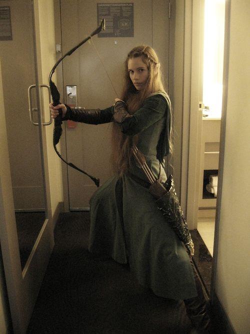 Zelda cosplayer getting ready in hotel room