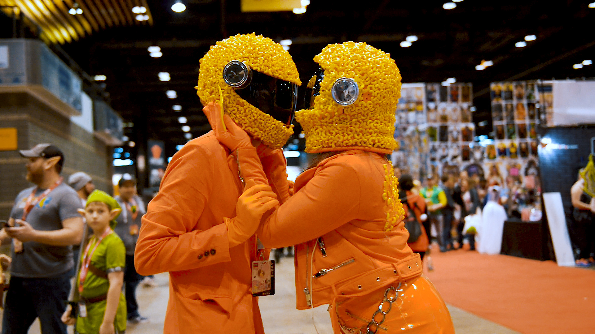 Cosplay makers in macaroni and cheese suits