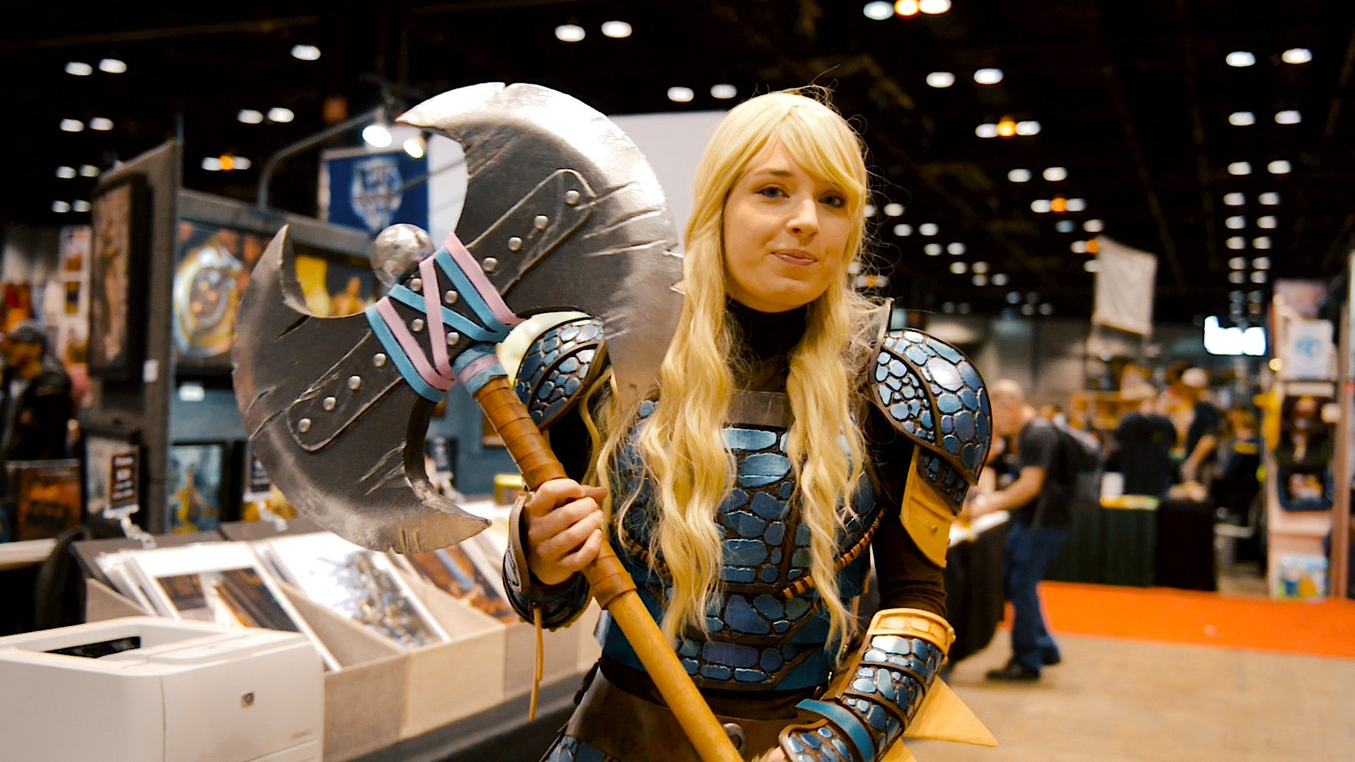 Astrid cosplay and axe made using hot glue