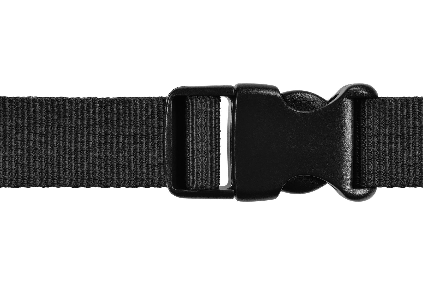 Black woven nylon cosplay strap with plastic parachute clips