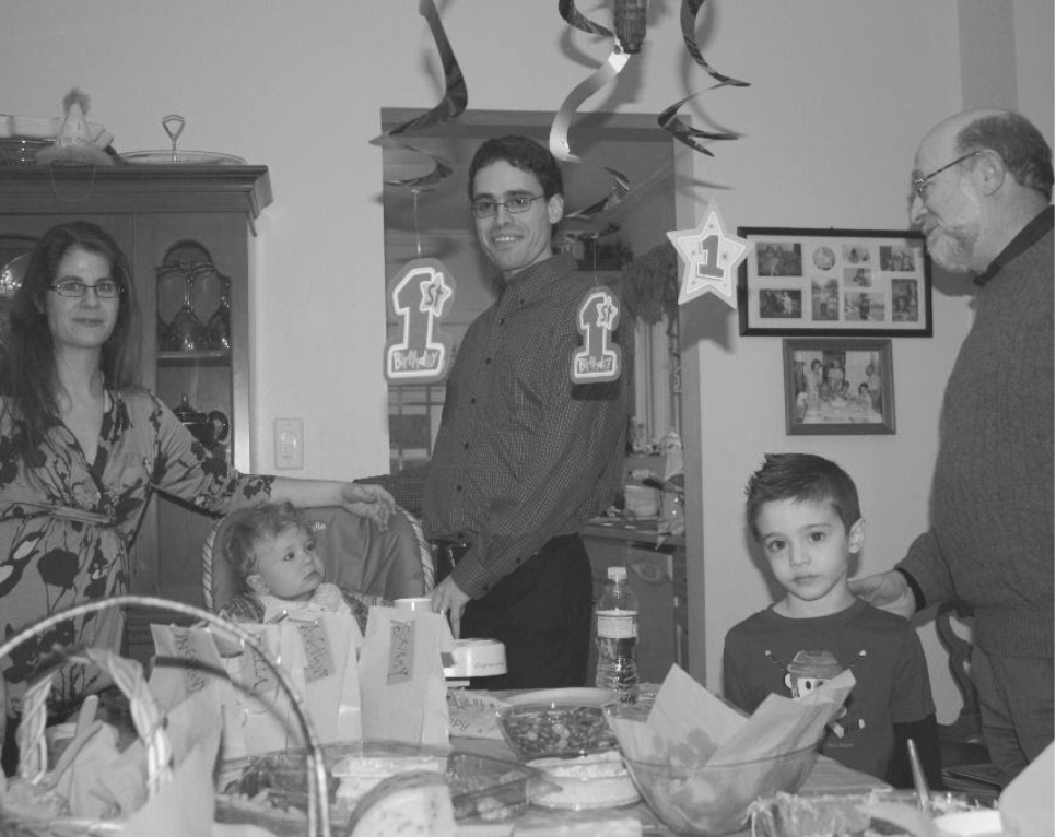 [In 2008, Gerry's grandson, Charley, at his 1st birthday. Same spot. Surrounded by his parents, grandfather, and one of his many 3rd cousins.]