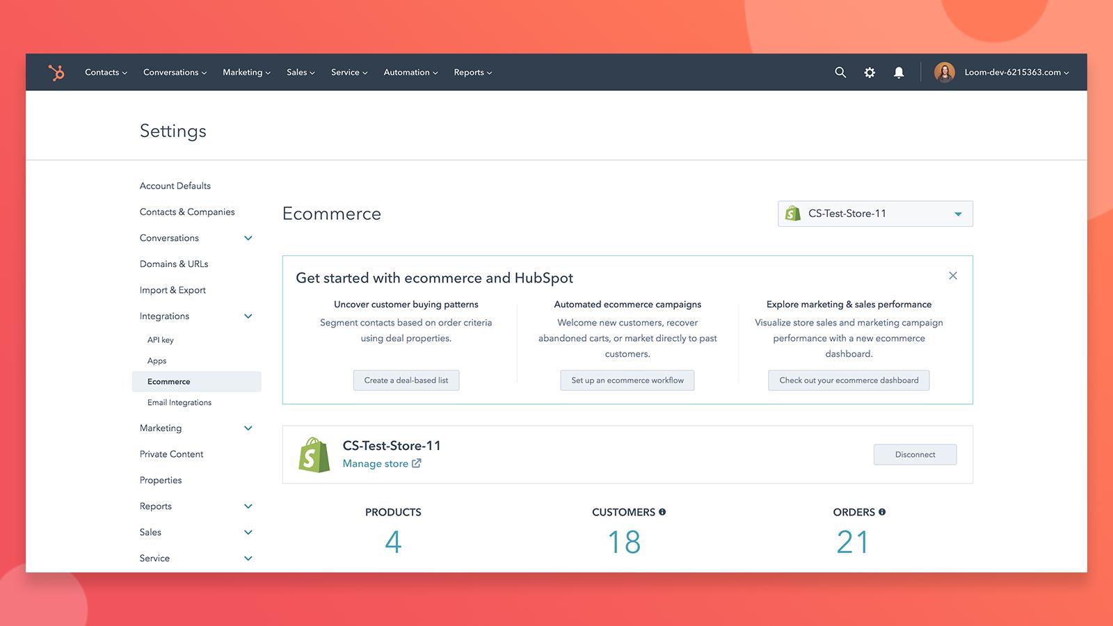 Shopify | HubSpot App Marketplace