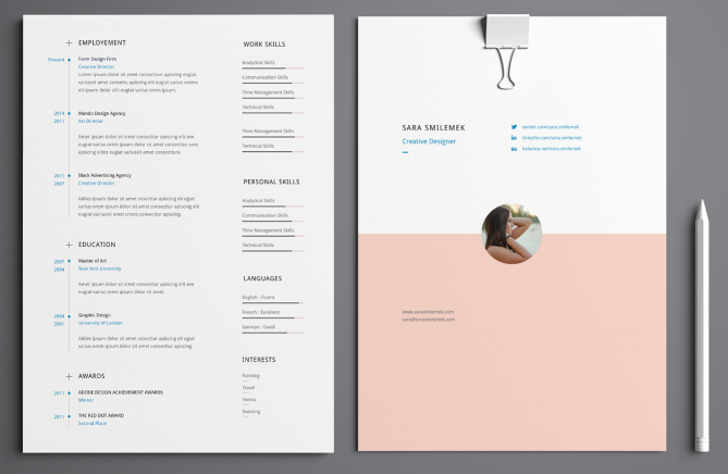 7 resume template with pops of primary colors