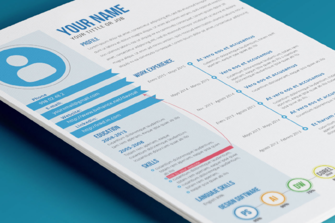 ... This Template Boasts A Compact, Sophisticated Layout And Bright,  Colorful Accents. Designer David Gómez Actually Uses This Resume Template  Himself, ...