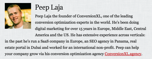 notice that final line peep can help your company grow via his conversion optimization agency