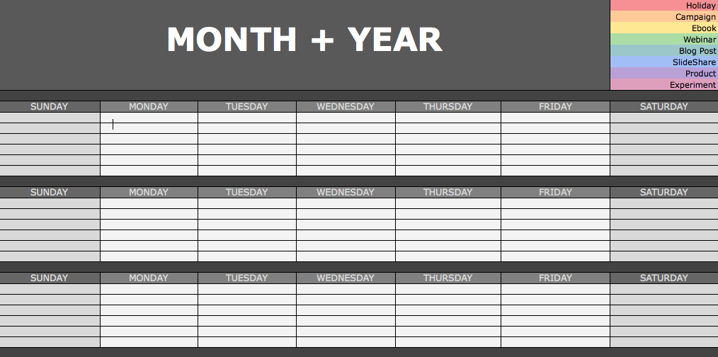 The Social Media Content Calendar Every Marketer Needs Free - Monthly social media calendar template