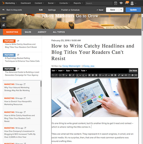 HubSpot Blogging Software