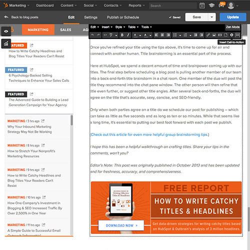 HubSpot Blogging Software - Easily Add CTAs