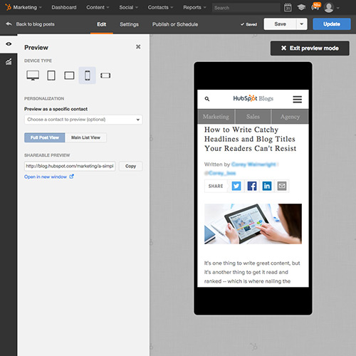 HubSpot Blogging Software - Automatically Mobile Ready