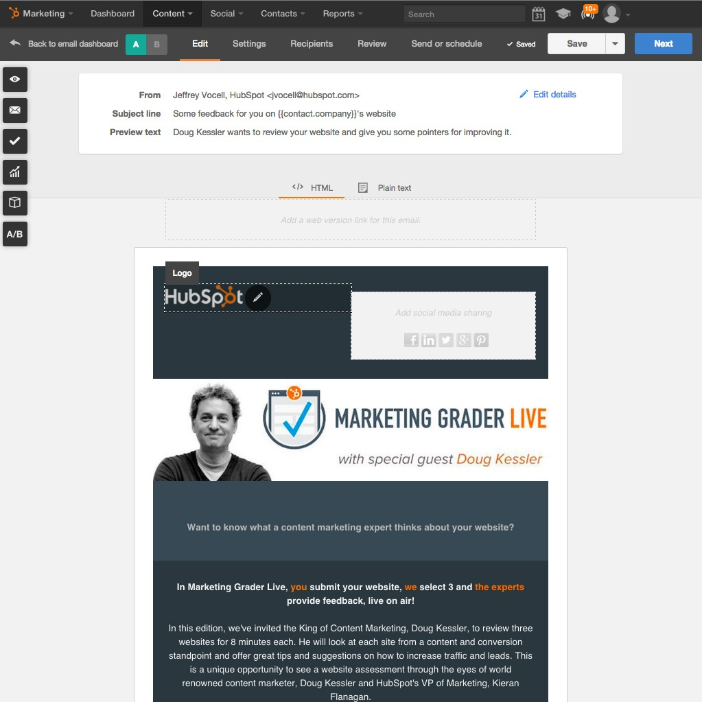 hubspot how to send email to compant