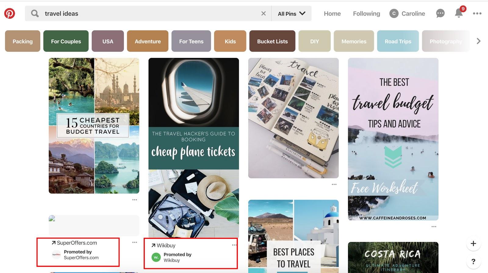 "pinterest feed for ""travel ideas"""