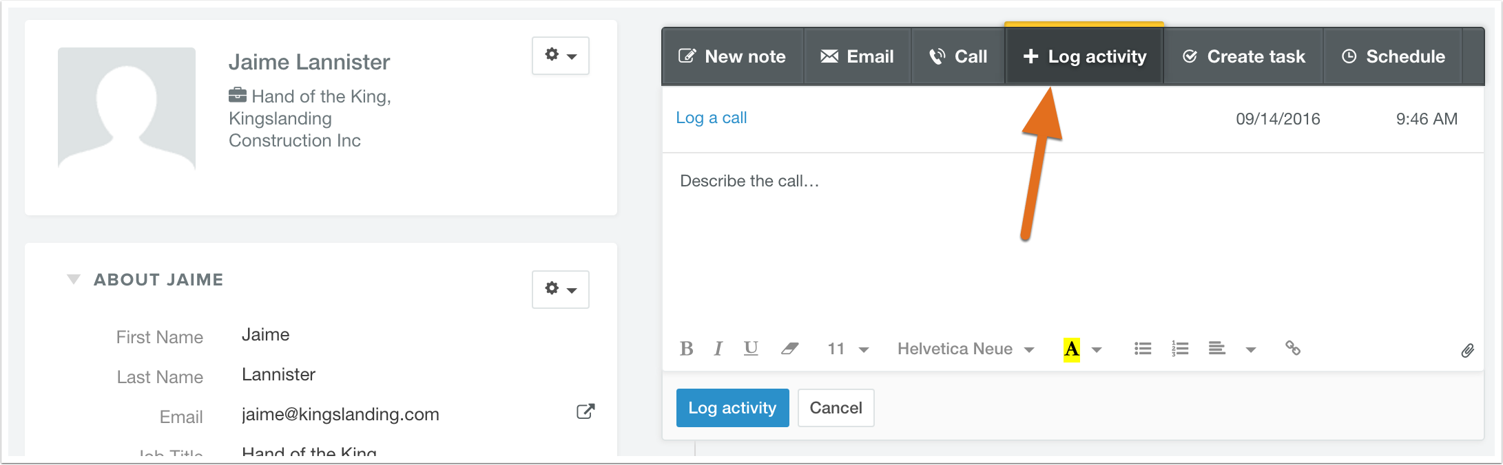 How can I manually log a call, email, or meeting on a contact record?